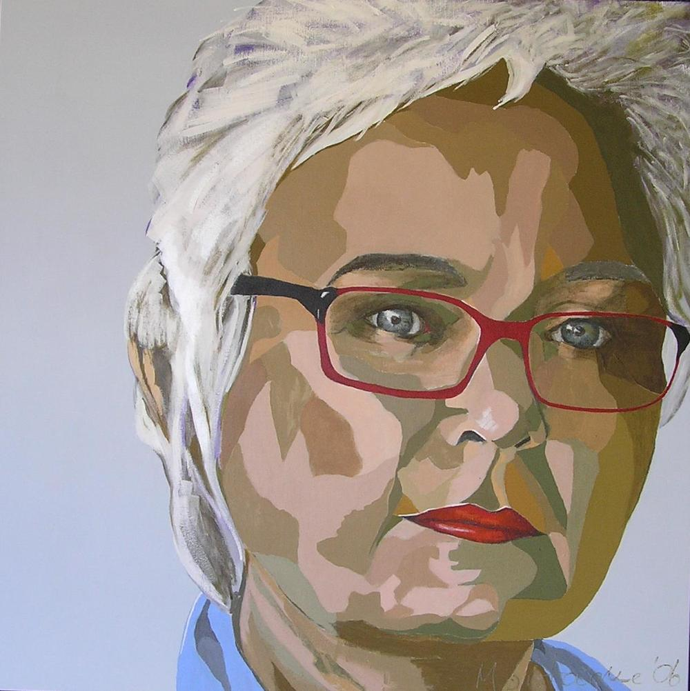 Bring in the Clowns  . Acrylic polymer on canvas. 80 x 80cm. © 2006 Ida Montague.  Self Portrait