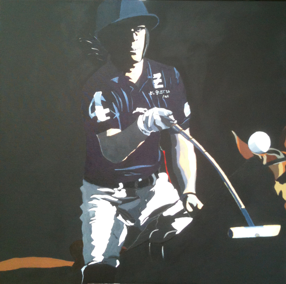 Polo Up Close and Personal (No. 3).  Acrylic polymer on canvas. 65 x 65cm.  ©  2012 Ida Montague. Corporate Collection, Sydney.