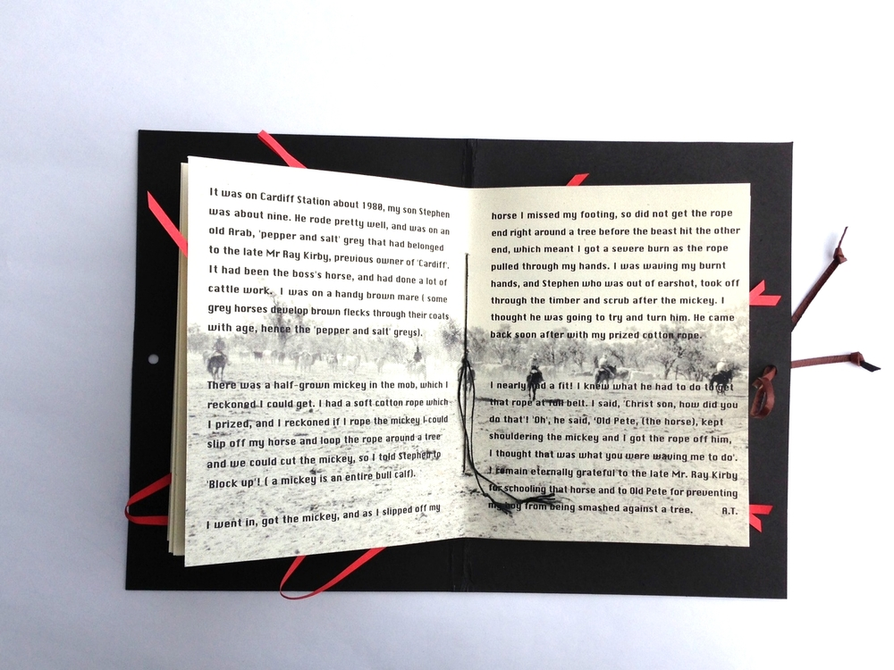 The Man From Snowy River - Revisited.   Artists Book. 2000  ©  Ida Montague  The book's content is words and imagery relate to present day life on the land.