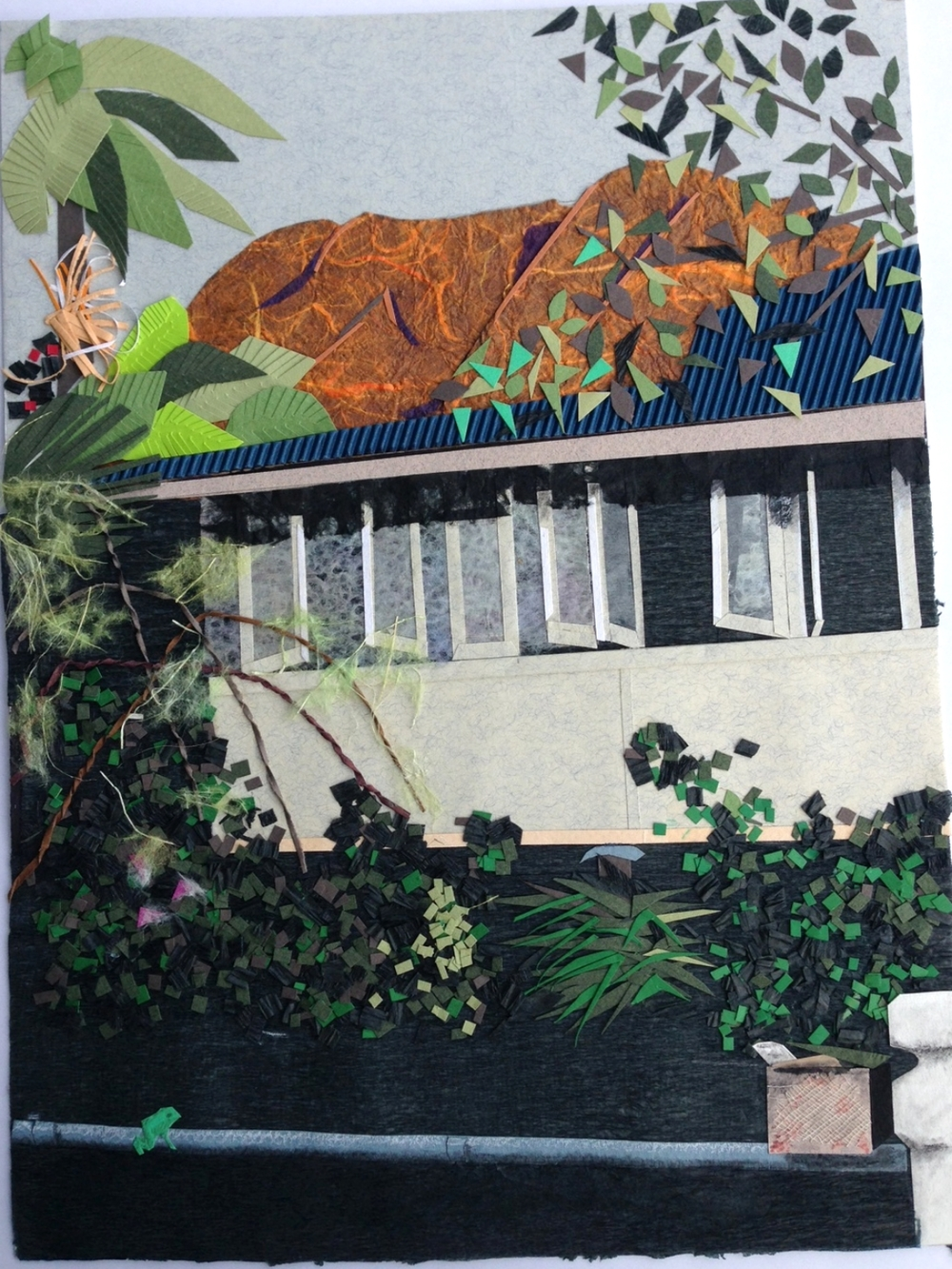 At My House .  Paper cuts and original collage for children's book illustration. 2001  ©  Ida Montague  Pictured: Castle Hill, Townsville, North Queensland.