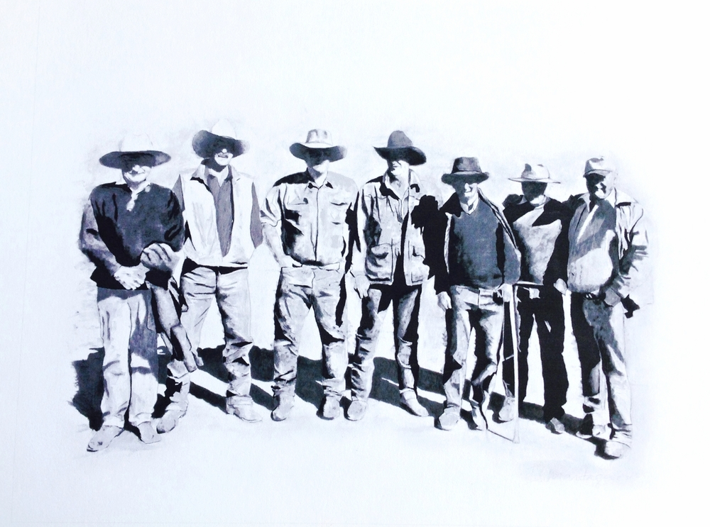 The Magnificent Seven  . Charcoal on paper. 120 x 150cm.  ©  2012 Ida Montague. Corporate Collection, Brisbane