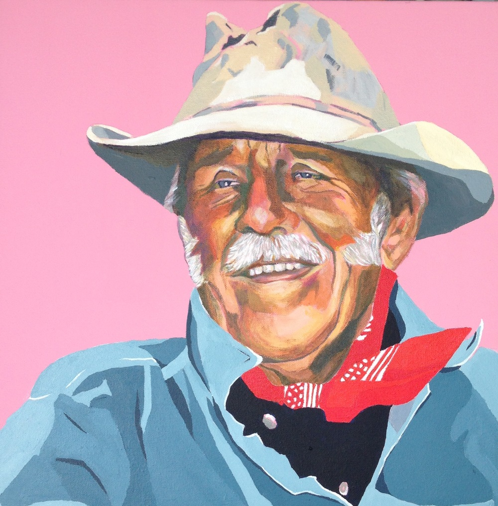 Jack  . Acrylic polymer on canvas. 45 x 45cm  ©  2015 Ida Montague.  From a series of portraits of legendary Australian cattlemen.