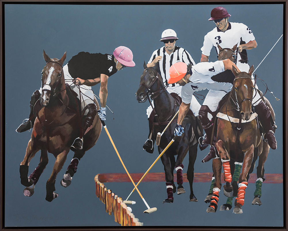 On the Boards.   Acrylic on Canvas. 120 x 150 cm.  ©  2012 Ida Montague  ENQUIRE   Currently showing at William Inglis & Son' new Equine Centre at Warwick Farm, NSW, Australia.