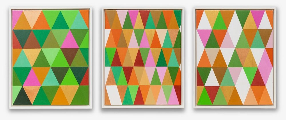 Battling the Greens I, II, III,   Acrylic medium, 50 x 40 cm each panel. Framed