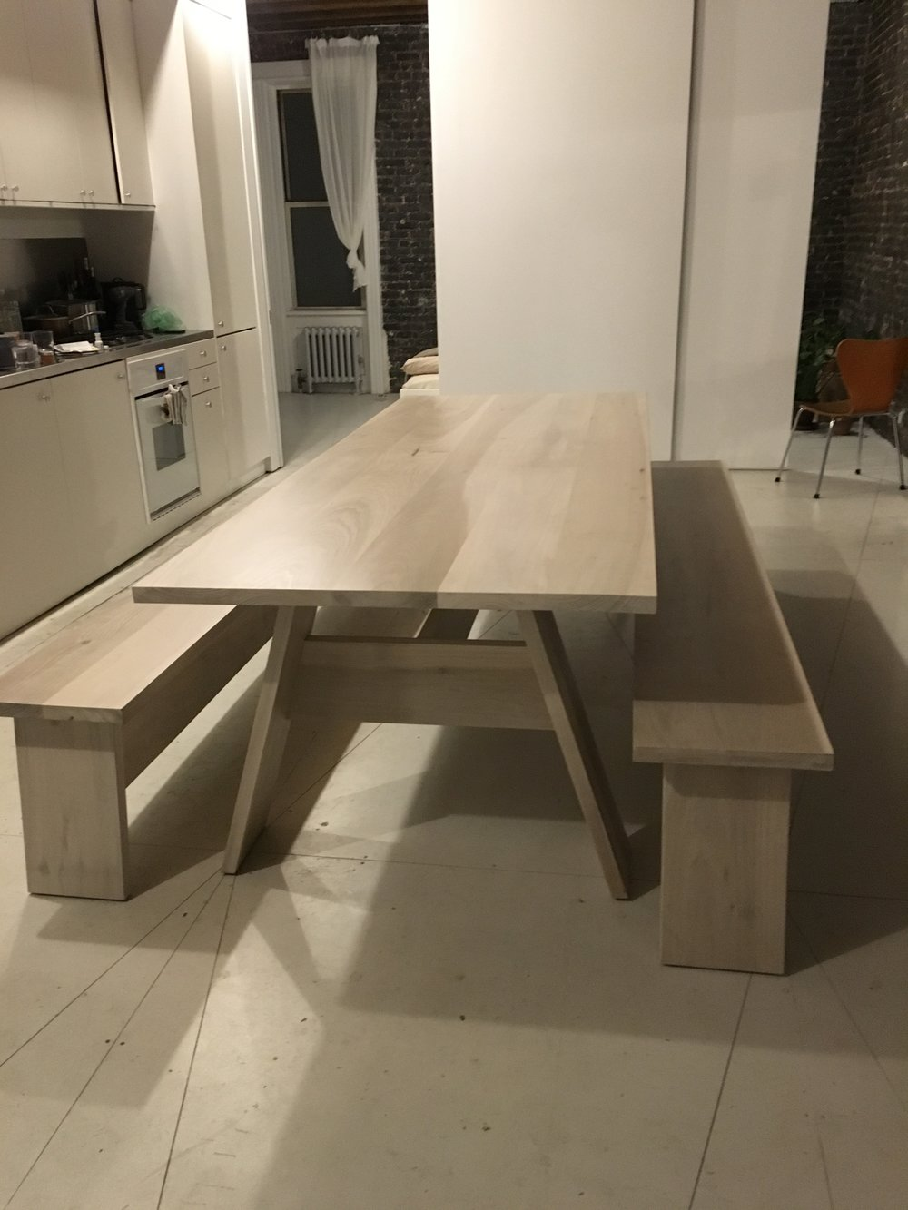 Custom dining table with benches