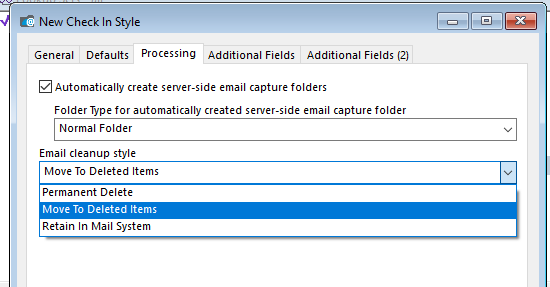 In CM 9.2 there is one combo-box to choose what happens to the email after filing.