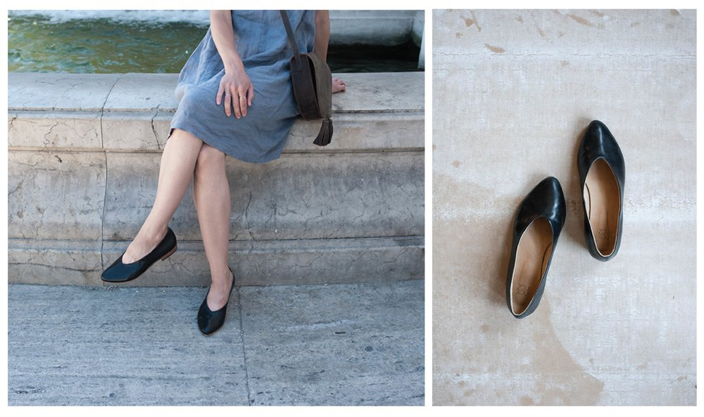 Emily Anne Szabo in Italy with Zou Xou Glove Flat in Black Glaze
