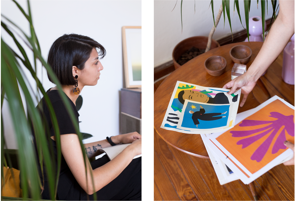 Left: Daiana perched in a favorite corner of her sunlit loft. Right: One of Daiana's clear influences in her illustrations is the cut out work of Henri Matisse
