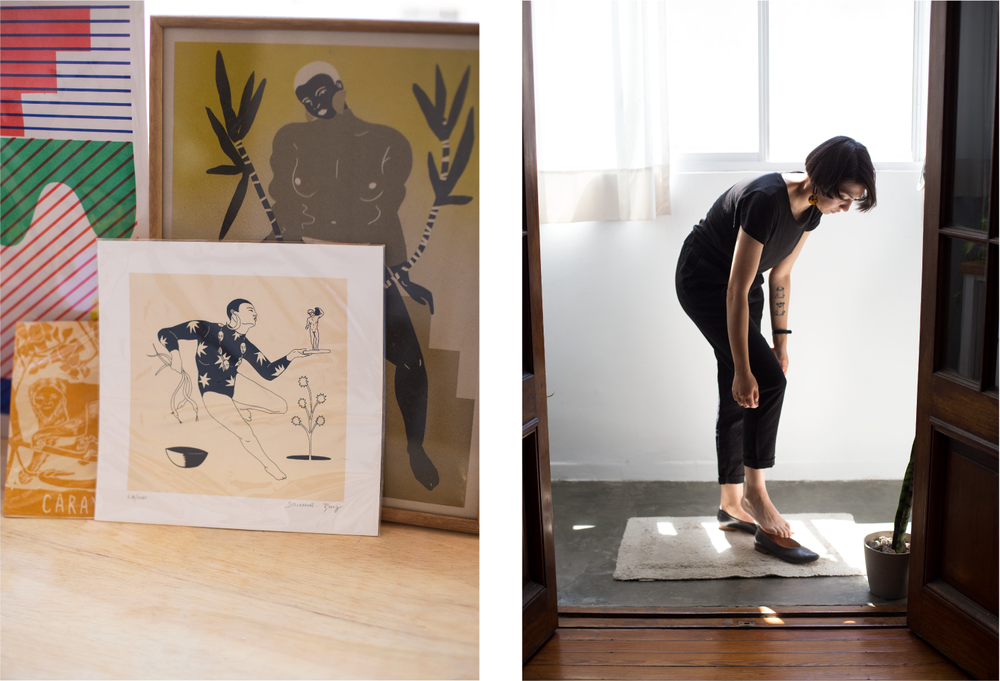 Left: Some prints by Daiana and others artists arranged on a living room credenza. Right: Daiana puts the finishing touches on her outfit with the Glove Flat in Black Glaze.