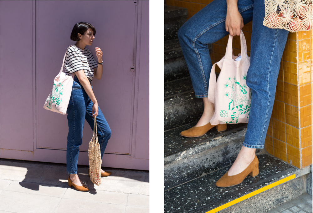 Left: Daiana Ruiz in the streets of Buenos Aires wearing her uniform with the ZX Belu Pumps and the ZX x Dai Ruiz limited edition tote in pink. Right: A close-up of the tote.