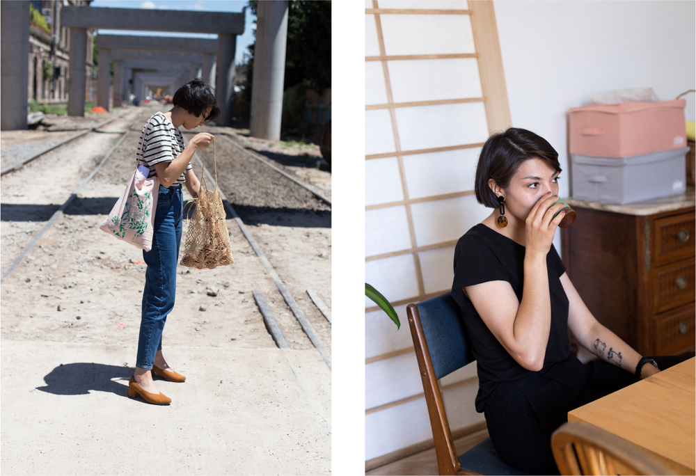 Left: Dai standing on a street close by her Buenos Aires neighborhood. Right: Dai sipping coffee at her dining room table.