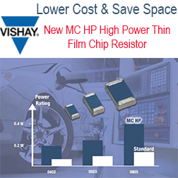 High Power Chip Resistors - New MC HP Series High Power Thin Film Chip Resistors Replace Larger Devices or Multiple Same-Size Resistors to Lower Costs and Save Space.