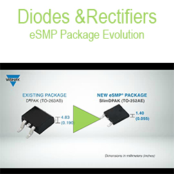 Diodes & Rectifiers - Diodes and Rectifiers: eSMP Package Evolution.This video shows the package evolution of Vishay's eSMP® Series packages