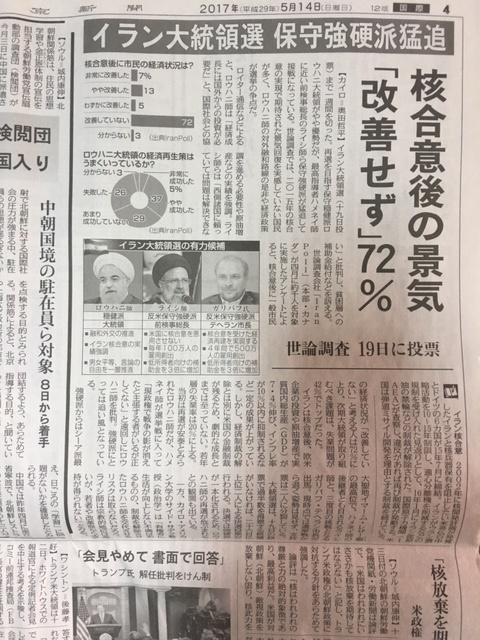 "Article by ""Tokyo Shimbun"" newspaper covering IranPoll's surveys for the Iranian 2017 presidential election"