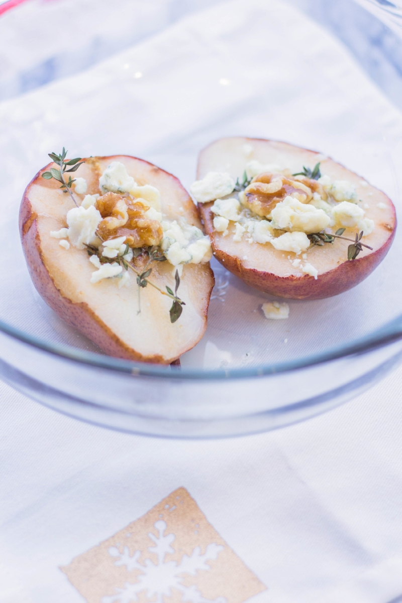 Gennifer Rose - Honey Glazed Baked Pears with Gorgonzola and Walnuts