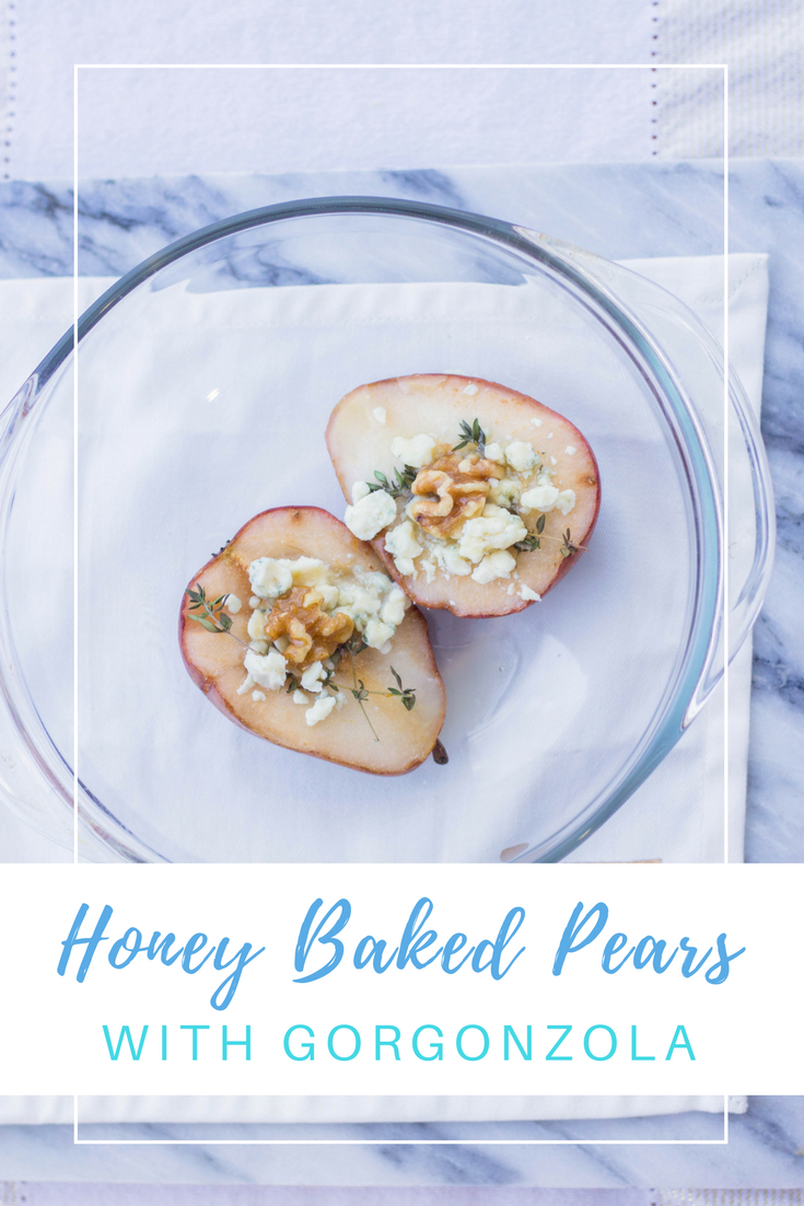 Gennifer Rose - Honey Baked Pears with Gorgonzola and Walnuts Pin