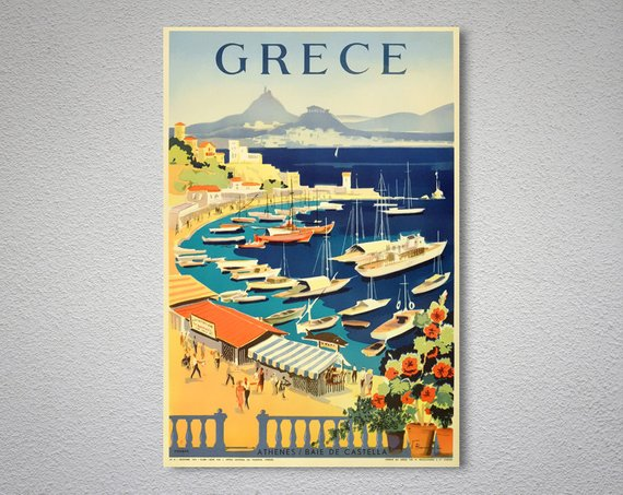 Greece Vintage Travel Poster By WallArty