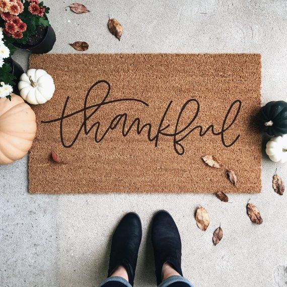 Thankful Welcome Mat By Driftdesignco