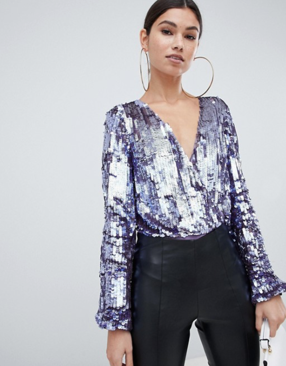 Long Sleeve Sequin Wrap Body By ASOS