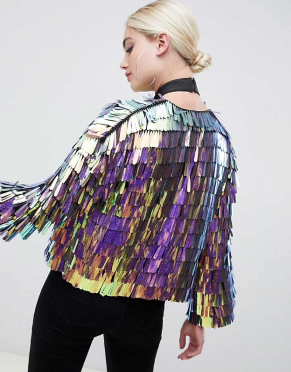 Iridescent Fringe Sequin Jacket By ASOS