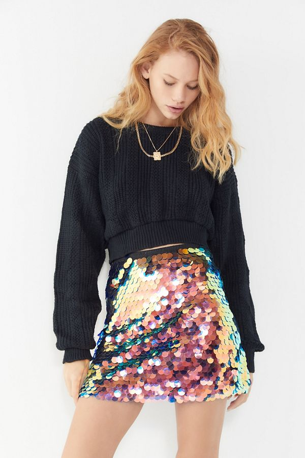 Motel Wyne Sequin Mini Skirt By Urban Outfitters
