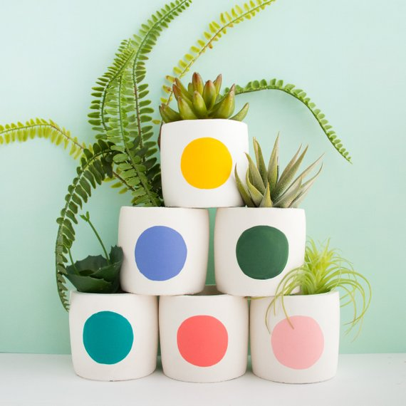 Small Mod Circle Cement Planters By Kailochic