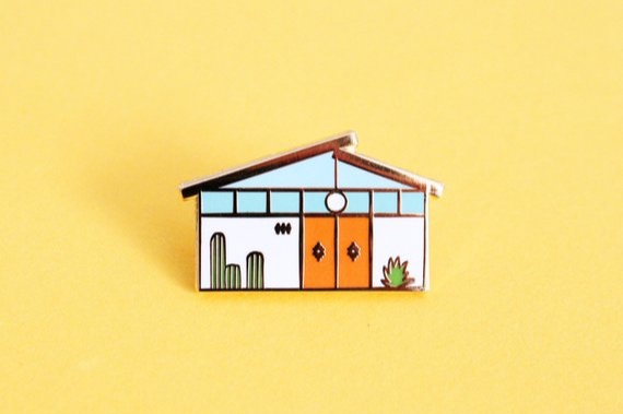 Mid Century Palm Springs House Enamel Pin By TheUncommonPlace
