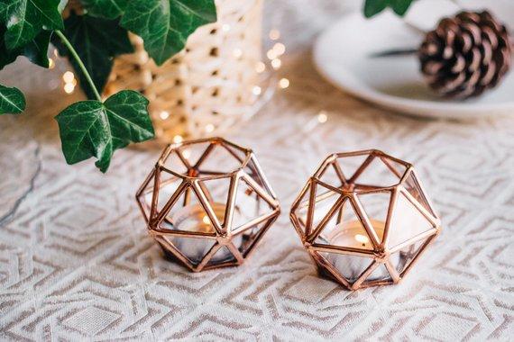 Geometric Glass Tealight Candle Holder By Waen