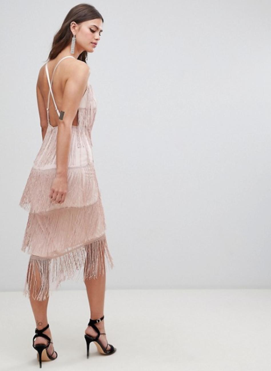 Square Neck Fringe Midi Dress By ASOS