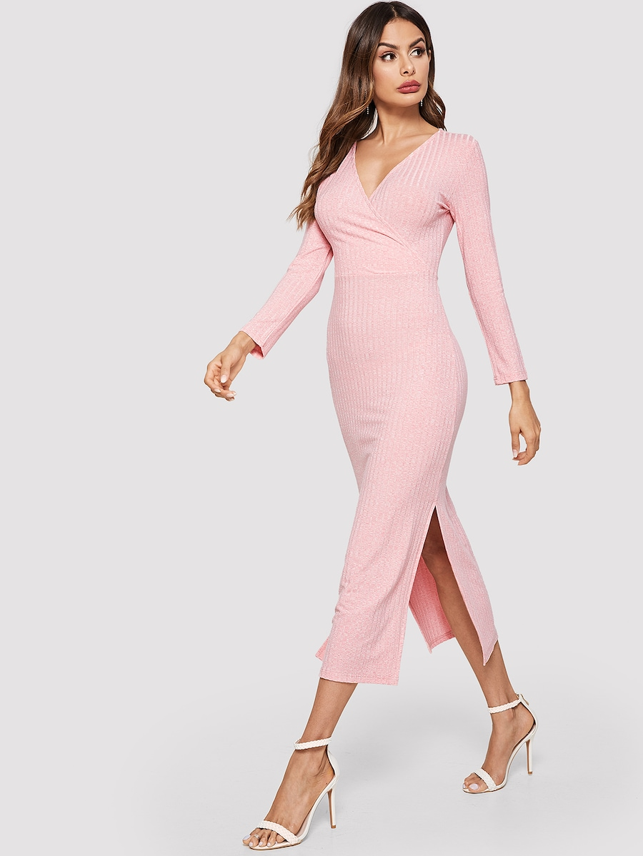 V-Neck Split Side Slub Knit Dress By Shein