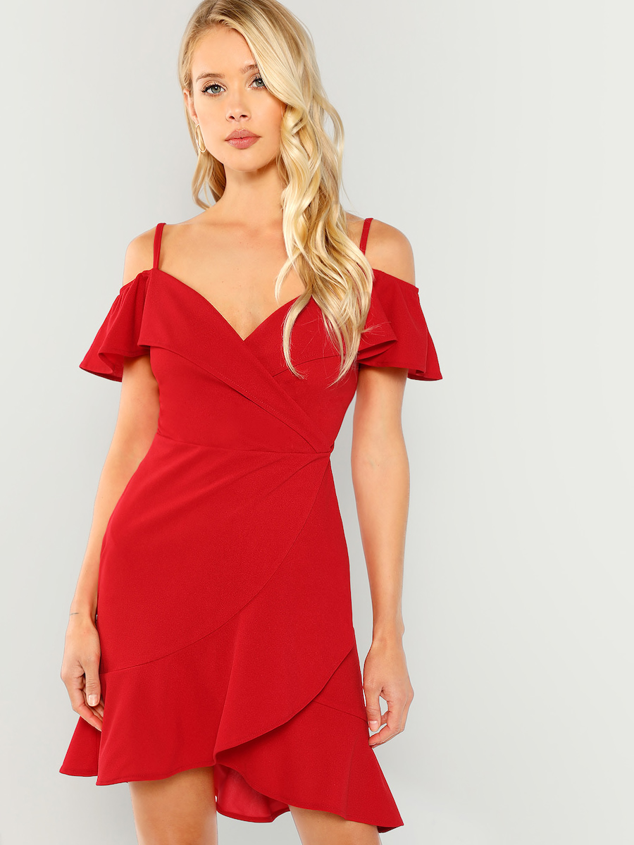 Cold Shoulder Surplice Wrap Dress By Shein
