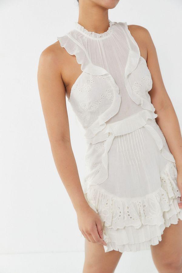 Mia Eyelet Ruffle Mini Dress By UO