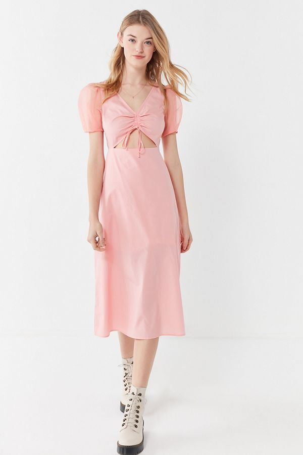 Organza Puff Sleeve Cinched Midi Dress By UO