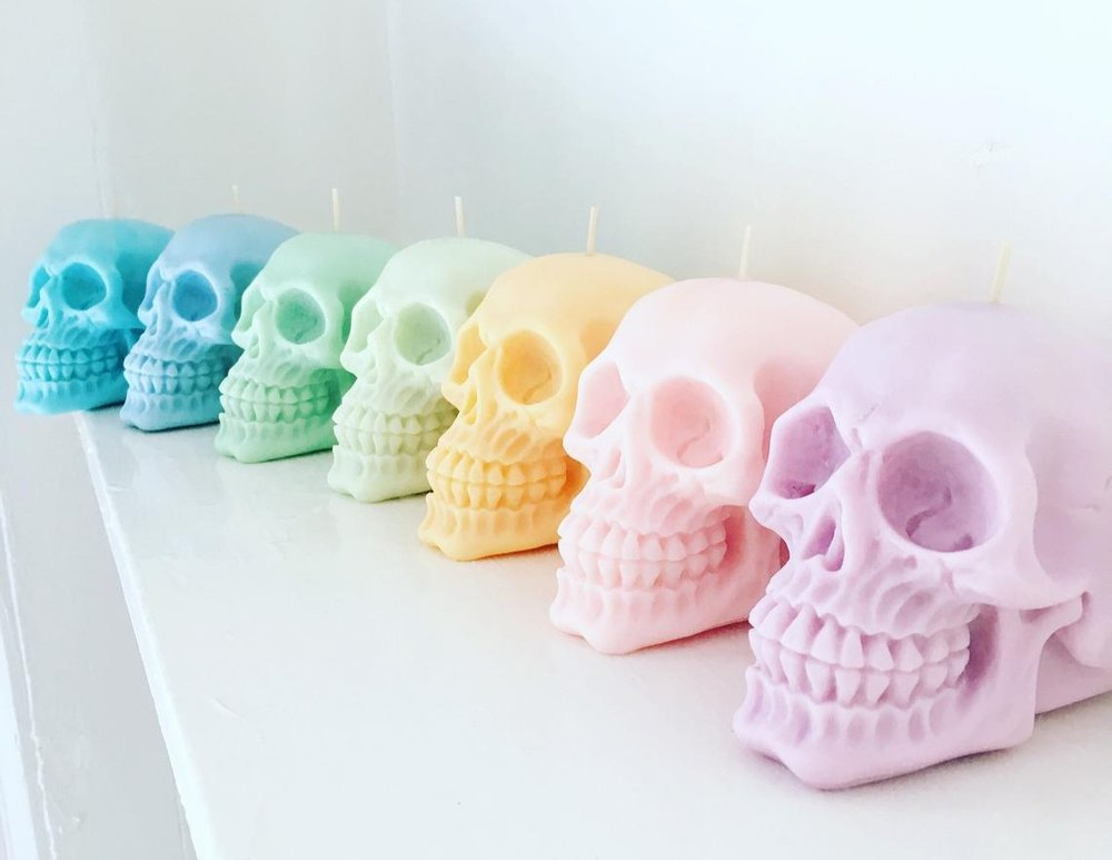 Pastel Skull Candle By EmberCandleCo