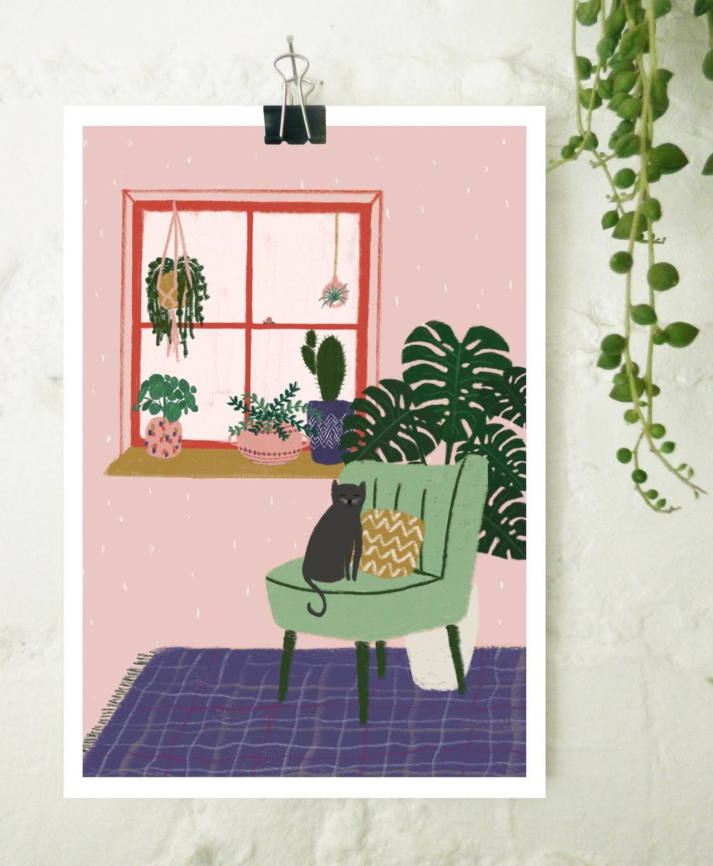 Plants and Cat Print By Bethanyleahjones