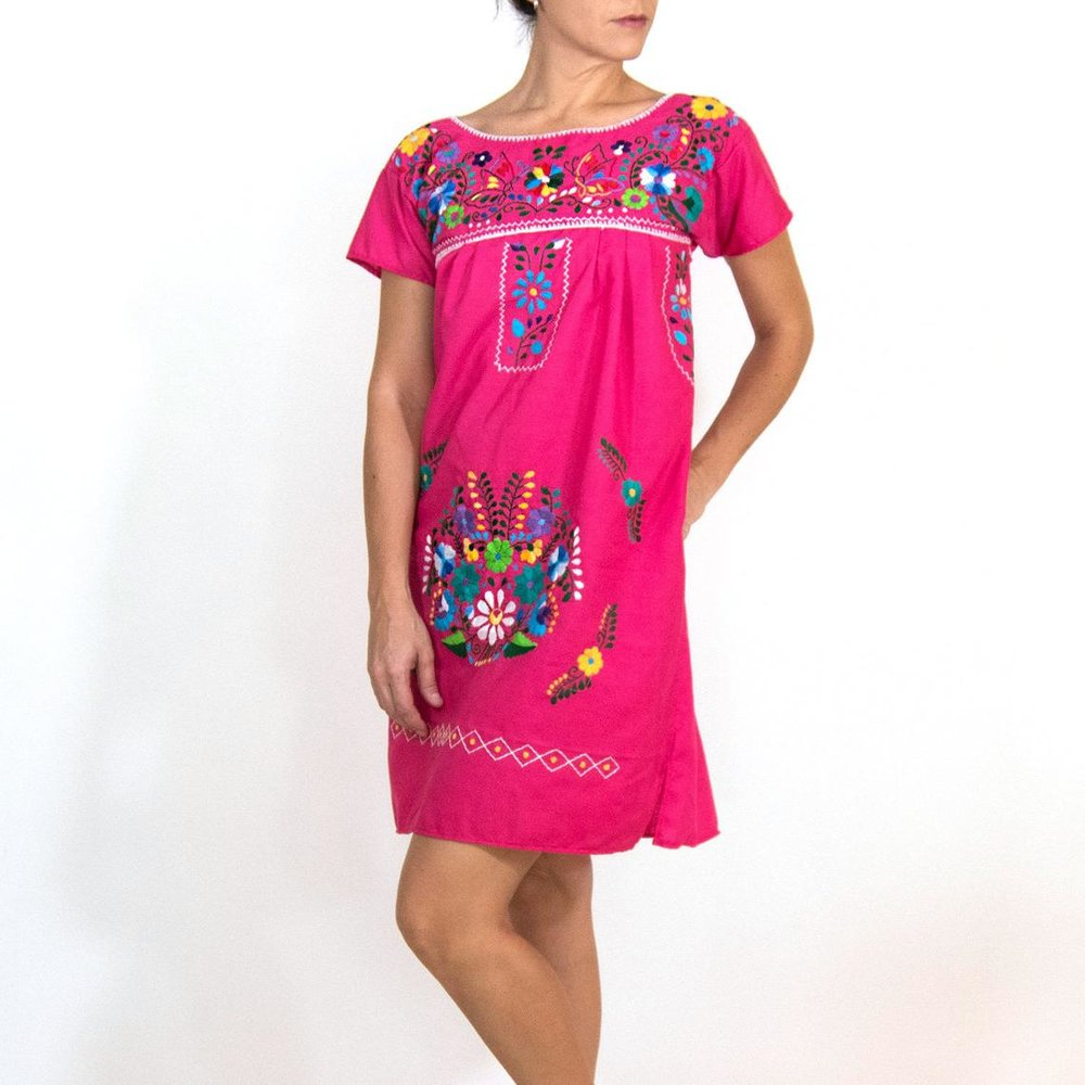 Hand Embroidered Mexican Pink Dress By Kantedecor
