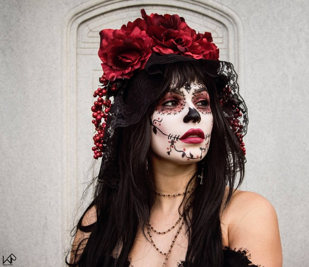 Veil Red and Black Rose Dia de los Muertos Headpiece By HeadpieceHeiress