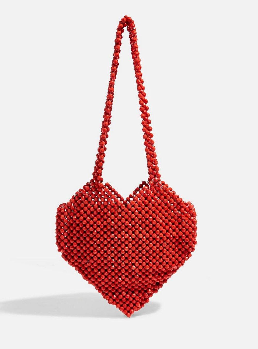 Heart Beaded Shoulder Bag By Topshop