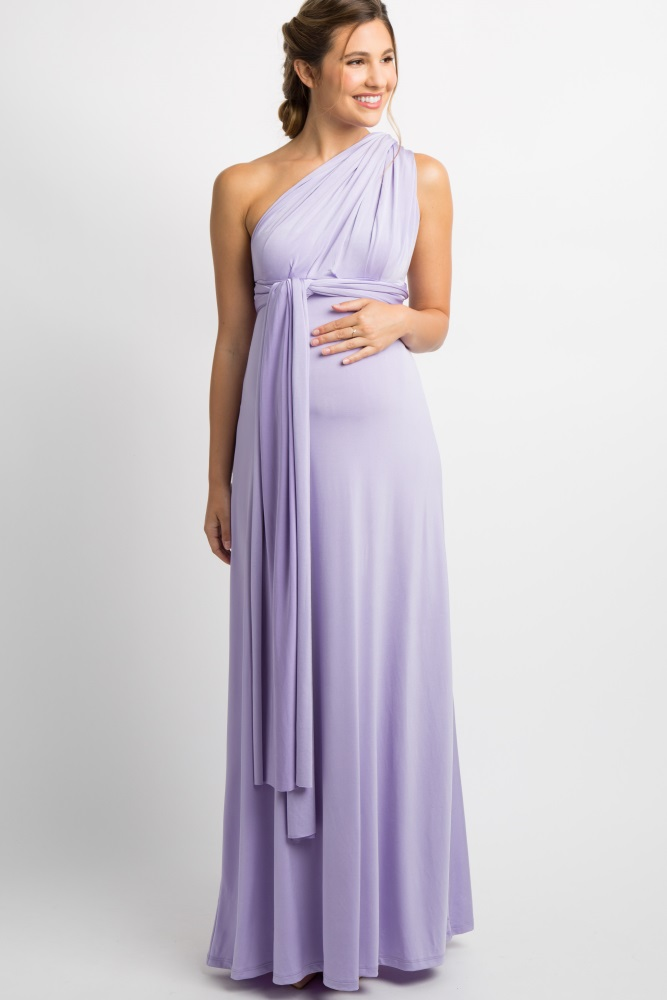 Lavender Solid Pleated Convertible Maternity Maxi Dress By Pinkblush