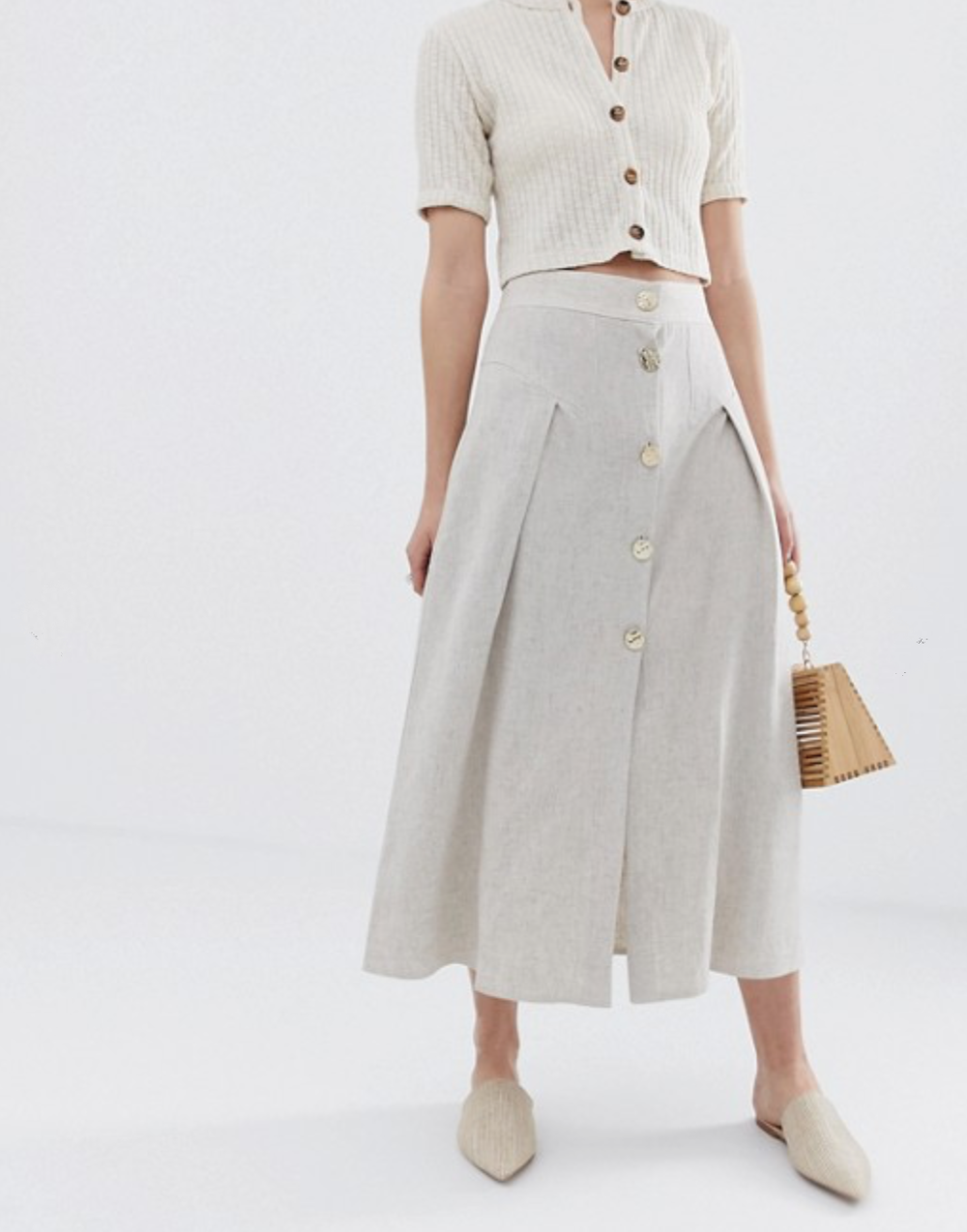 Seamed Linen Midi Skirt with Metal Buttons By ASOS