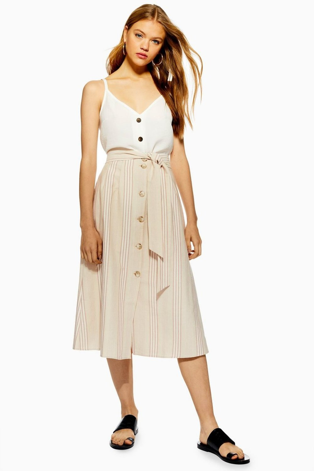 Striped Button Through Midi Skirt By Topshop