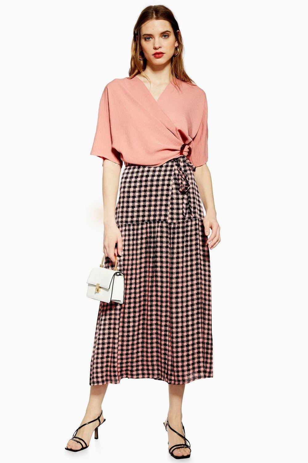 Check Wrap Midi Skirt By Topshop