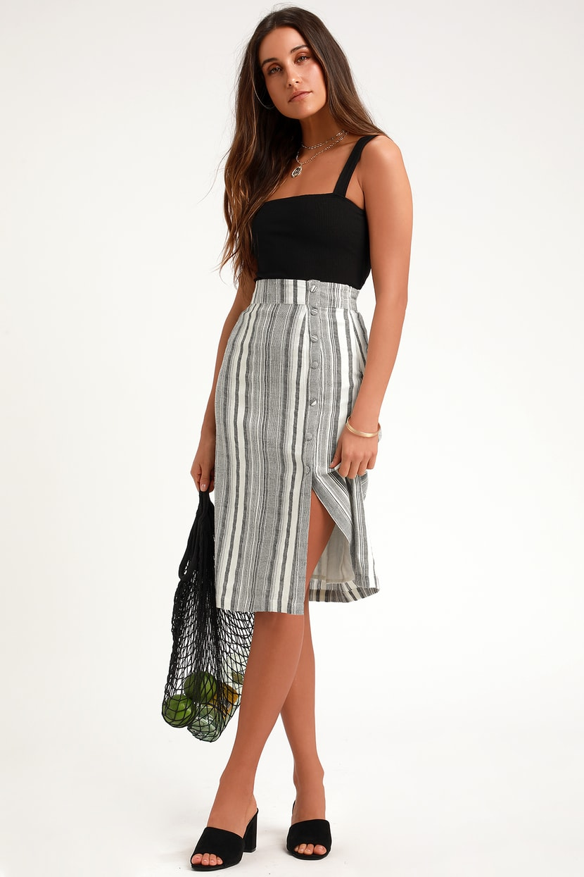 SABINE GREY STRIPED BUTTON DOWN MIDI SKIRT By Lulus