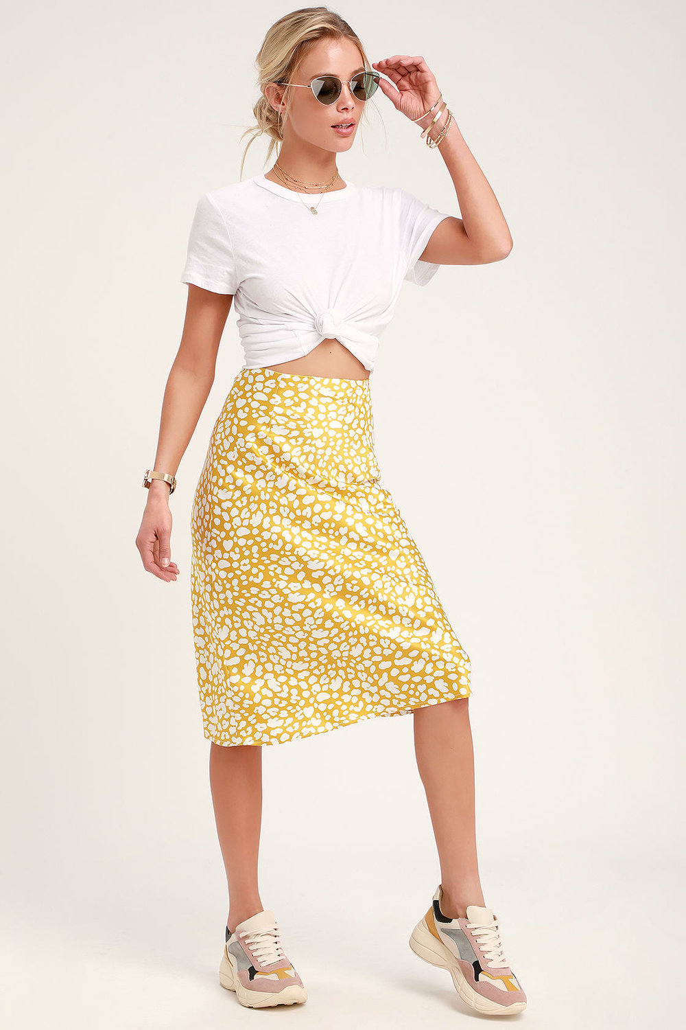 ELISA MUSTARD YELLOW PRINT SATIN MIDI SKIRT By Lulus