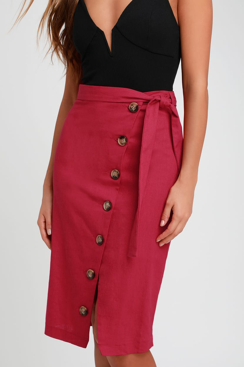 PICNIC BERRY RED BUTTON DOWN LINEN MIDI SKIRT By Lulus