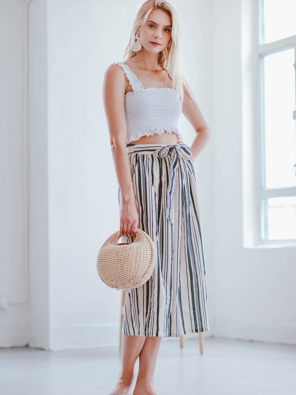 Goodnight Macaroon 'Adora' Striped Side Button Tied Midi Skirt
