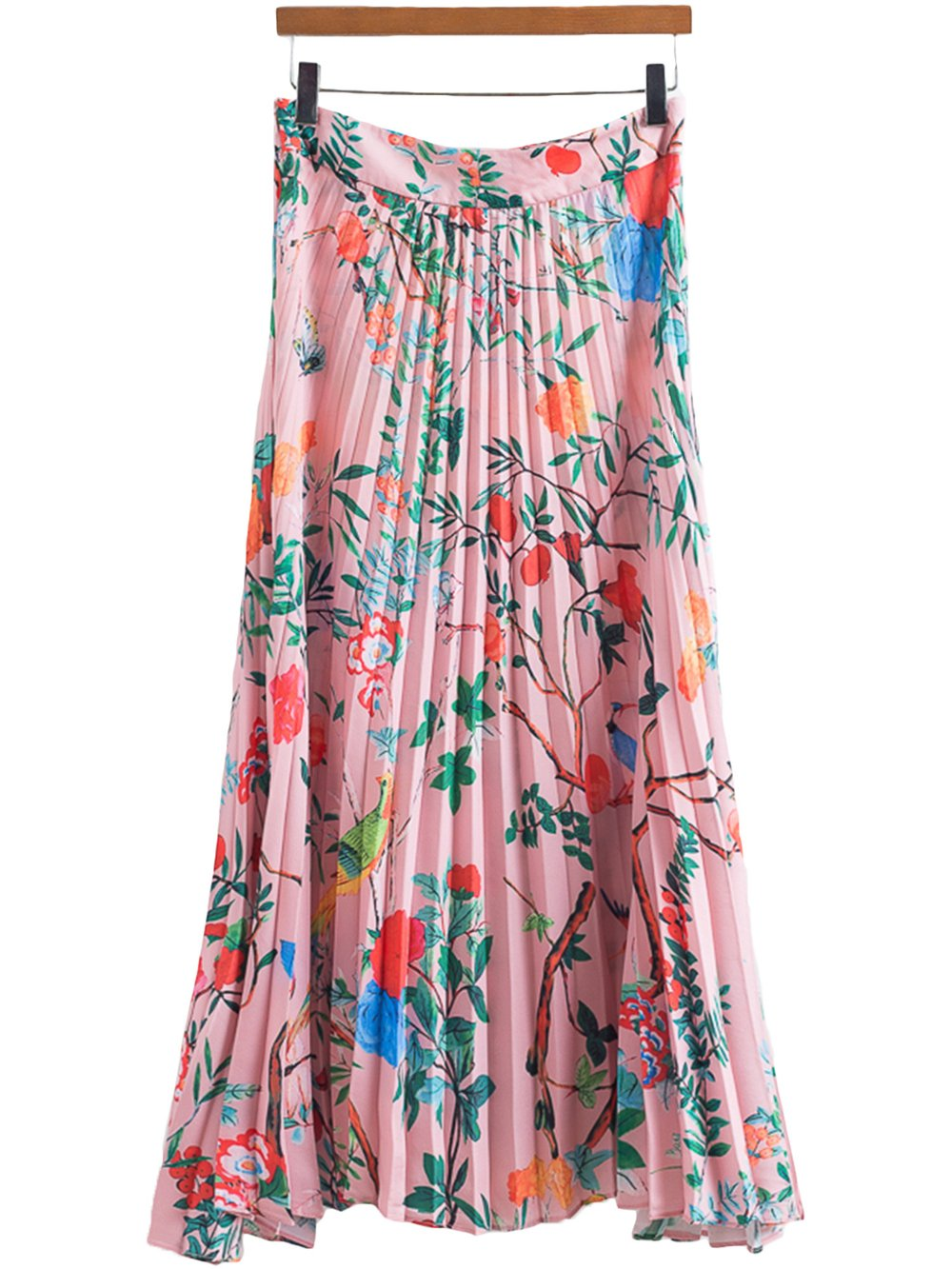 Goodnight Macaroon presents the 'Aline' Pink Floral Long Pleated Skirt
