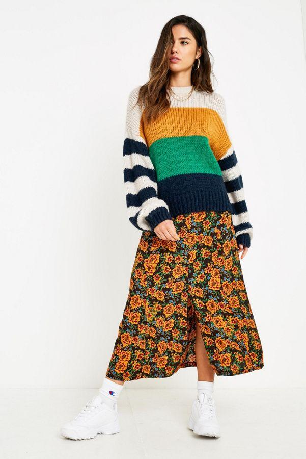 UO Ella Floral Midi Skirt