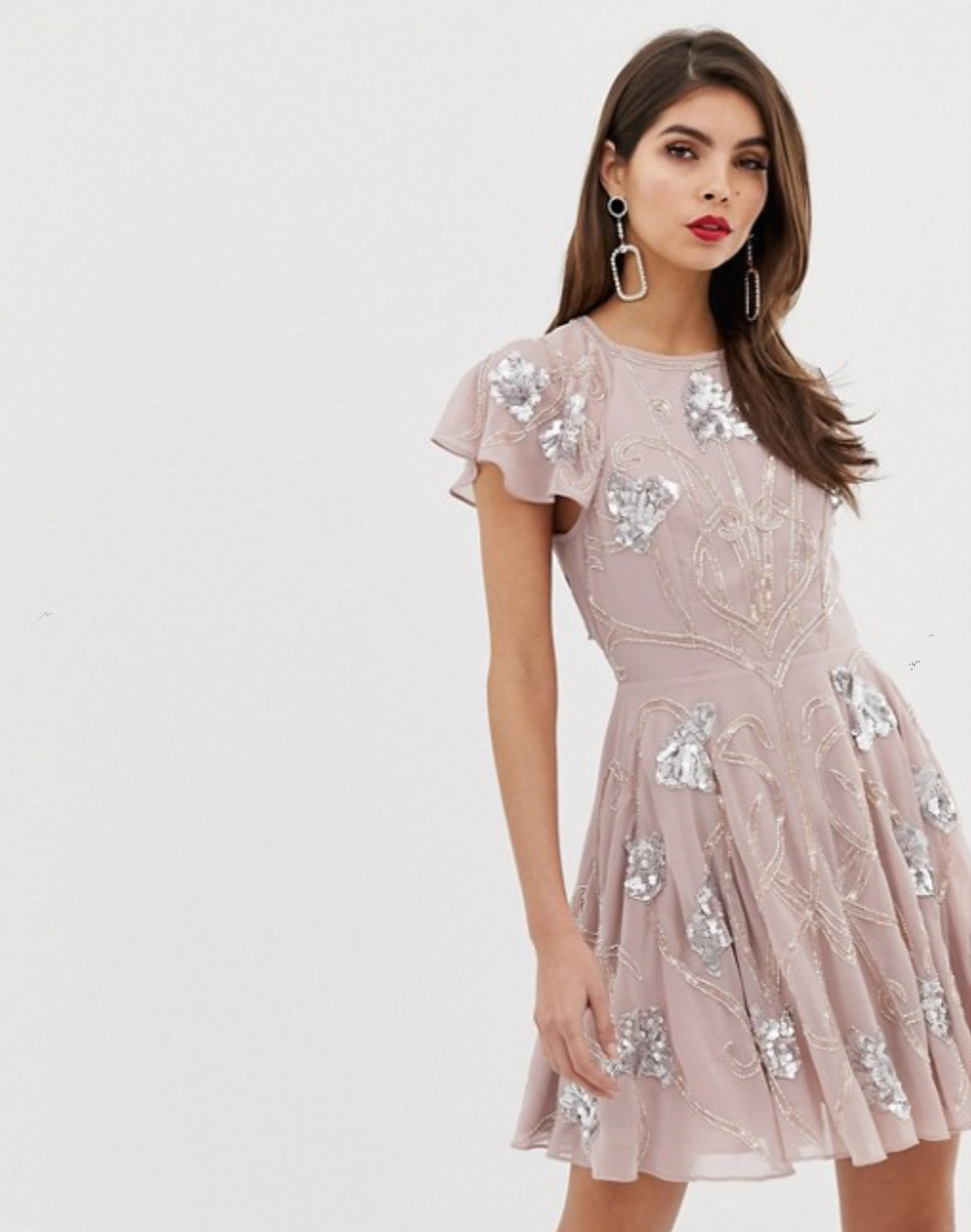 Mini Skater Dress with with All Over Embellishment By ASOS