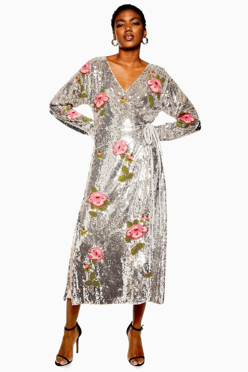 Sequin Floral Beaded Wrap Dress By Topshop